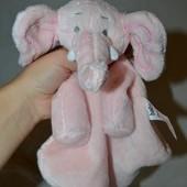 Нежный слоник слон Впитывающий платочек полотеничко с развивалками кукольный театр