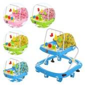 Детские ходунки Bambi M 0541 дуга с подвесками 3шт, колеса 8шт (70мм), стопоры2шт, муз, свет,3цв (ро