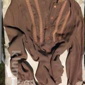 She Fly. Винтажная кофейная блузка с кружевной стоечкой.