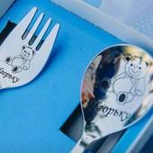 Набор столовых приборов (ложка+вилка) из нержавеющей стали для детей