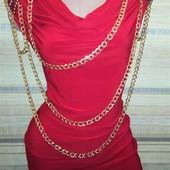 Красное платье с цепями и плечиками! Хит!