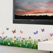 Интерьерная наклейка на стену Цветы и бабочки