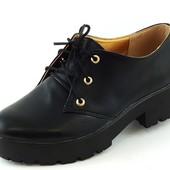 Туфли женские черные тракторная подошва Т419 р.39