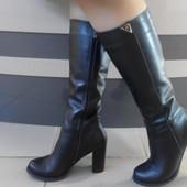 Сапоги женски в коже и замше на каблуке 9,5 см