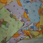 Комплект 3 в 1 сменного постельного белья для детской кроватки бязь