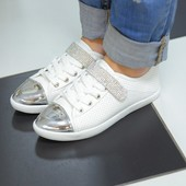 Кроссовки белые серебристый носок Т423 р.38