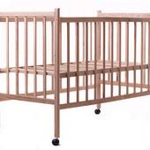 Детская кроватка Наталка  Ясень (без лака,простая, регулировка дна, колеса)