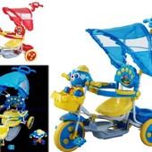 3-х колесный велосипед (клубничка и футбол.мяч), 2в1 с танцующей, свет.муз.игрушкой