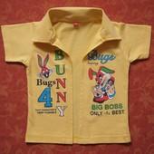 Хлопковая нарядная рубашка на 9-18 месяцев, б/у. Носили на майку. Отличное состояние. Длина 32 см, П