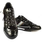 Кроссовки кожа Ecco стильные мужские лаковые черного цвета