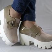 Туфли на тракторной подошве. Натуральная кожа