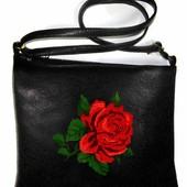 Сумка-планшет женская с вышивкой Роза код 9-20