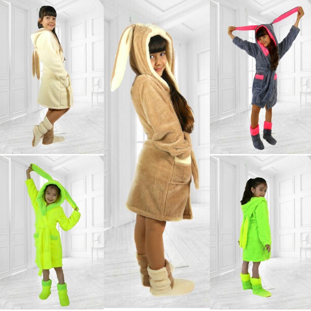 Детские махровые халаты с ушками в наборе с домашними сапожками фото №1
