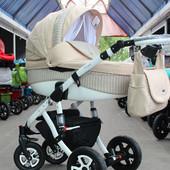 Универсальная коляска 2 в 1 Adamex Barletta 638K, бежевый/капучино (плетенка)