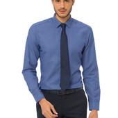 насыщенно-синяя мужская рубашка LC Waikiki в белый горошек и белые пуговицы
