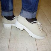Туфли женские бежевые тракторная подошва Т453 р.39,40