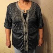 Хлопковая трикотажная блуза с висюлькой. 58 размера.