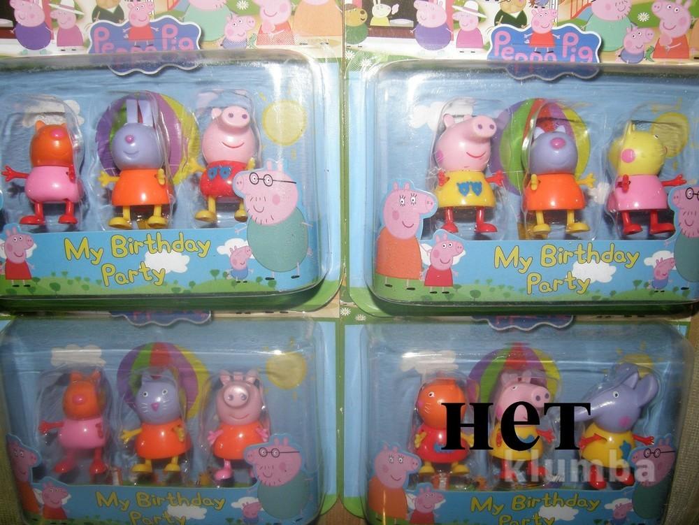 Набор фигурок свинка пеппа и ее друзья , 3шт на листе фото №1