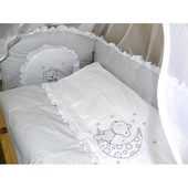 """Детское постельное в кроватку из 3-ед- с Вышивкой """"Мишка клетка"""""""