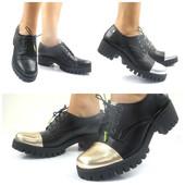Женские осенние кожаные ботинки на толстом каблуке