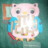 246.игрушка деревянная новая сова магнитный лабиринт