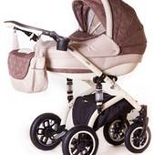 Детская коляска 2 в 1 Adamex Lara- 905G (шоколад бантики, бежевый)