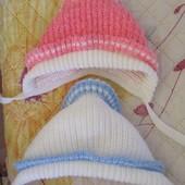 Вязаные шапочки на возраст до 3 мес в отличном состоянии