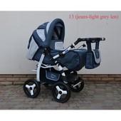 Универсальная детская коляска трансформер Adamex Young 13  jeans light grey len