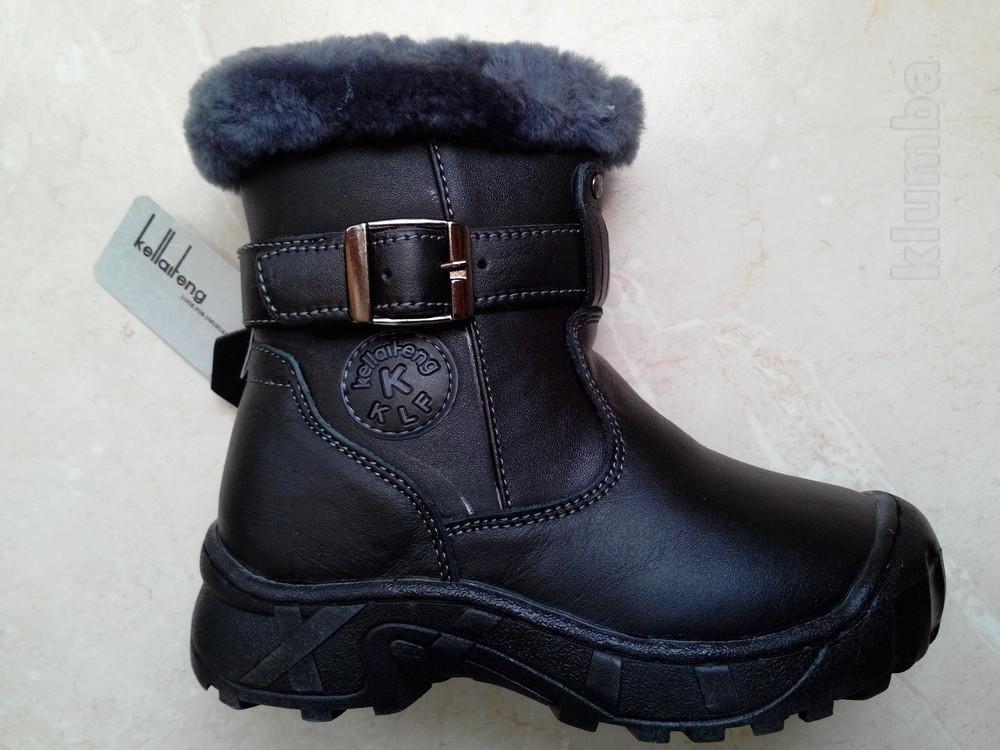 Детские зимние кожаные ботинки на цигейке. фото №1
