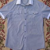 Мужская рубашка или на подростка с коротким рукавом 100 % котон