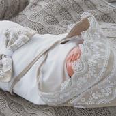 Трикотажный плед для новорожденных конверт на выписку в роддом