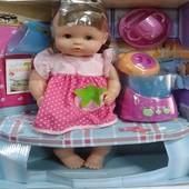 Кукла с набором посуды, блендером что б приготовить кашу,ноги и руки куклы подвижны, артRT05072-1/2
