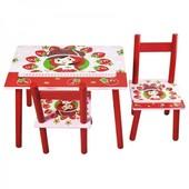 Детский столик и два стульчика.Клубничка, для 1-4 лет. Доставка по Киеву