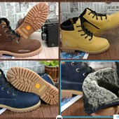 Женские зимние ботинки, натуральная кожа, нубук,  3 цвета, молния! Теплые ноские, в стиле Timberland
