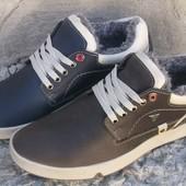 зимние мужские кроссовки ботинки кожа Код: vanshoes winter maggio