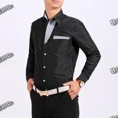 Черная рубашка с отделкой в полосочку
