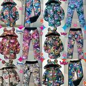 Костюм Минни деми-зима, штанишки на синтепоне цветочный принт разные расцветки