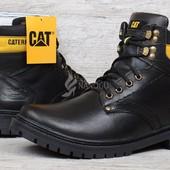 Ботинки кожаные CAT Caterpillar black мужские зимние черные