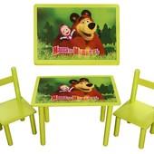 Детский стол+ 2 стула Маша и медведь Финекс+, арт 064