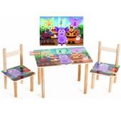 Детский стол + 2 стульчика Лунтик, мдф+бук. Доставка по Киеву