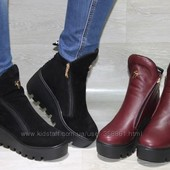 Новинка!Сапоги ботинки на платформе. Замш/ кожа.Зима  2016-2017