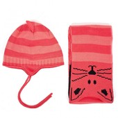 "набор из шапки на флисе и шарфа ""Кошка"""