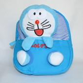 Детский рюкзак с плюшевой игрушкой кролик голубой