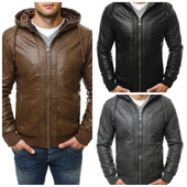 демисезонная мужская куртка из кожзама