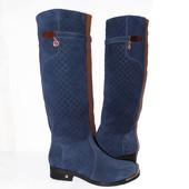 Большая скидка, высокие зимние сапоги, замшевые, с широким голенищем, синего цвета