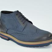 Инспекторы мужские туфли синие демисезон