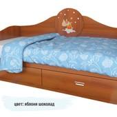 Гарантия 2 года! Детский диван 2 ящика 120x190 см, декор на выбор, укр. производство