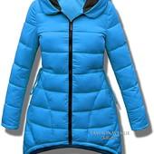 Женская зимняя асиметричная парка куртка пуховик стёганый