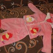 Утепленный велюровый костюмчик (3-6 мес)