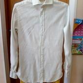 Мужская льняная рубашка с длинным рукавом р-р S-M